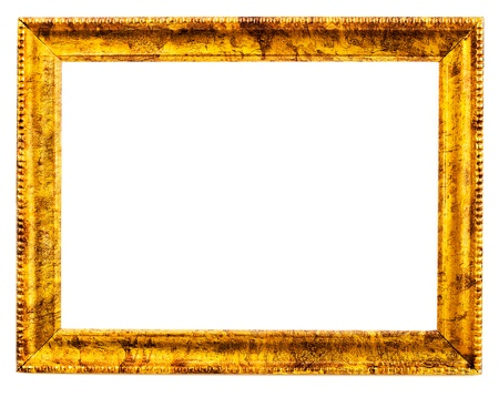 Old Wooden frame, isolated on white background photo