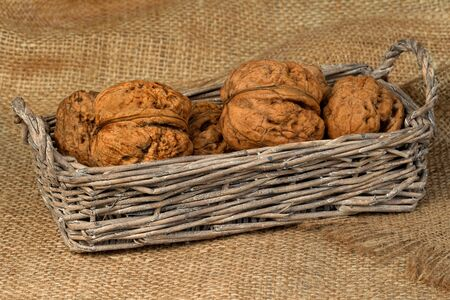 Walnuts in the old wicker basket on burlap photo