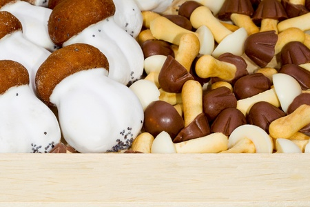 Cookies mushrooms glazed in white and brown chocolate packed in a wooden box photo
