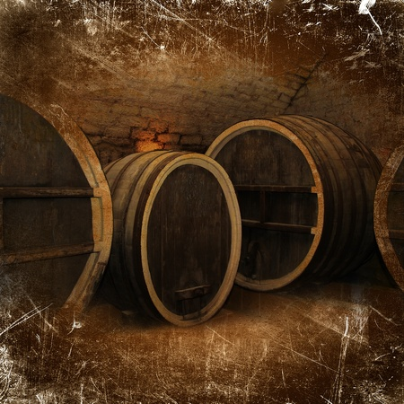Wine cellar with a large oak wine barrels in vintage style photo