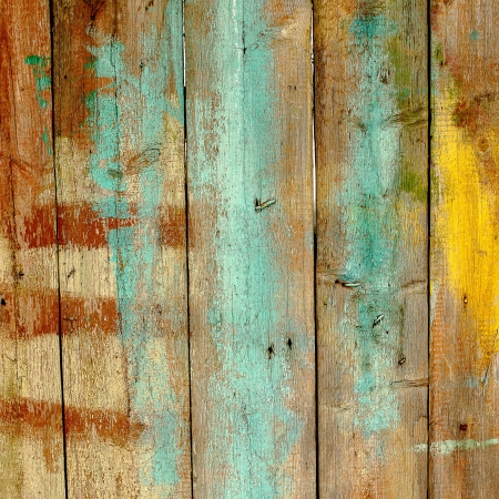 Old wooden fence painted in different colors Stock Photo - 17963964