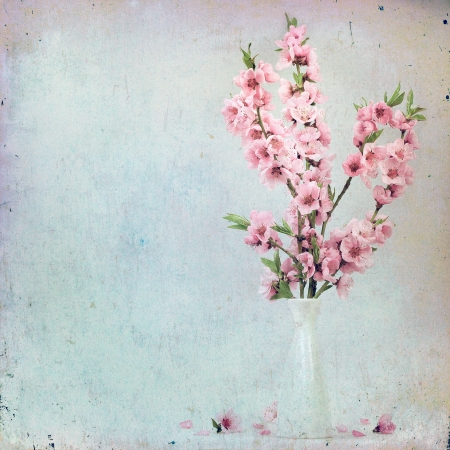 Vintage floral background with pink flowers on a brown background old paper citizens, for any of your project photo