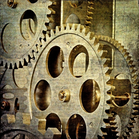 Vintage gloomy background of old clock mechanism photo