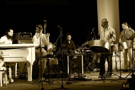 jamming: ODESSA, UKRAINE - JUNE 5  Jazz musicians performing live on stage as part of the  First International Festival of jazz improvisation,  June 5, 2013 in Odessa, Ukraine
