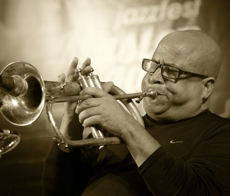 ODESSA, UKRAINE - JUNE 5  trumpeter Roberto Garcia  Cuba, Havana  performing live on stage as part of the  First International Festival of jazz improvisation,  June 5, 2013 in Odessa, Ukraine Editorial