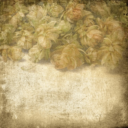 Vintage floral background flowers hops on a brown background old paper grunge, for any of your project photo