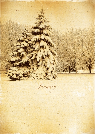 Calendar retro style  January  Vintage winter landscape  photo
