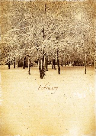 Calendar retro style  February  Vintage winter landscape  photo