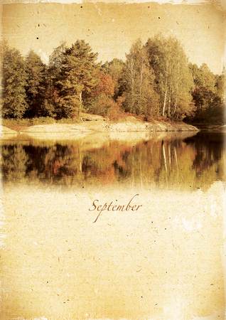 Calendar retro style  September  Vintage autumn landscape photo