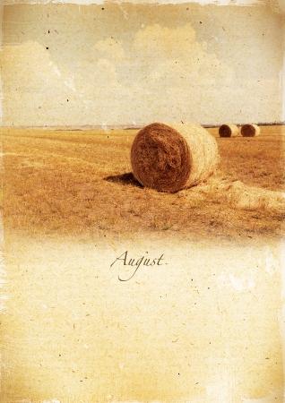 Calendar retro style  August  Vintage summer landscape   photo