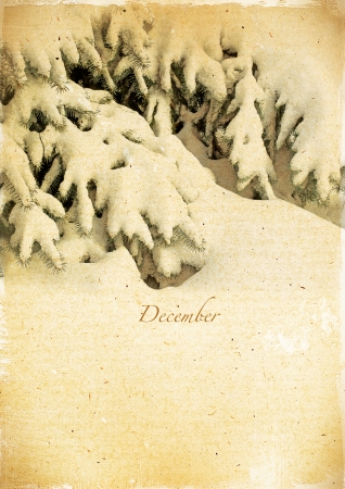 Calendar retro style  December  Vintage winter landscape   photo