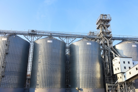 A row of granaries for storing wheat and other cereal grains  photo