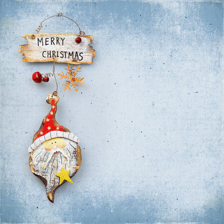 wooden Christmas ornaments, retro isolated on white photo