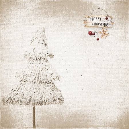 Vintage background snow-covered Christmas tree and Christmas tree baubles