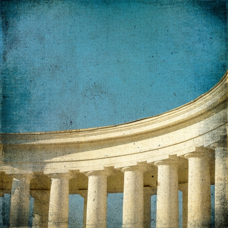 Vintage with the image of ancient architecture colonnade column