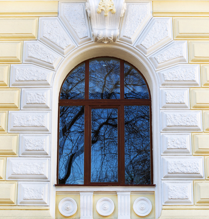 Historic building with glass window reflecting tree. photo