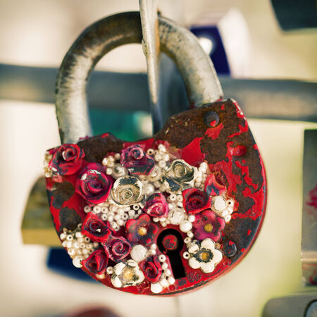 old metal lock with flowers Key from heart of love, vintage background