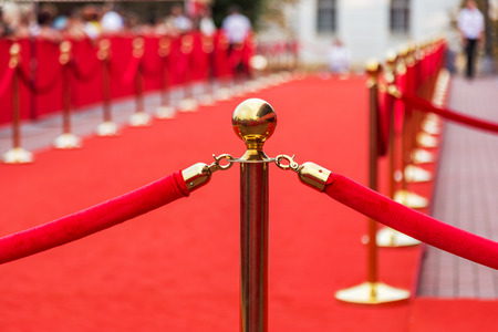 Barrier rope on the red photo
