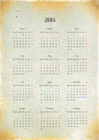 New 2015 calendar on old sheet of paper  photo