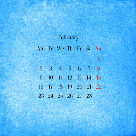 Calendar 2015 in the retro style, vintage background. February photo