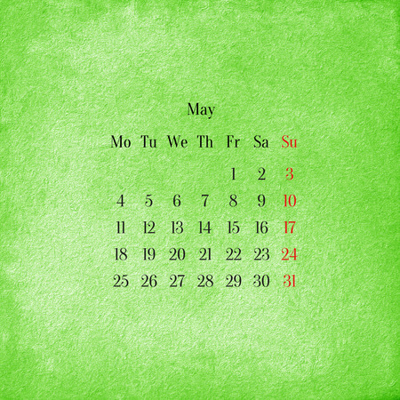 Calendar 2015 in the retro style, vintage background. May photo