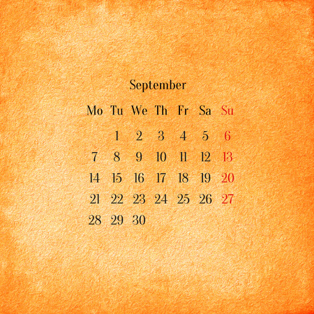 Calendar 2015 in the retro style, vintage background. September photo
