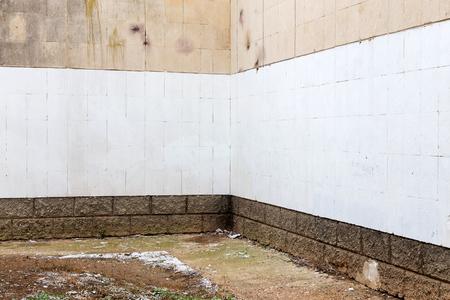 Vecchia Peeling muro dipinto, l'angolo della facciata del palazzo. Texture di sfondo per tutto il vostro progetto Archivio Fotografico