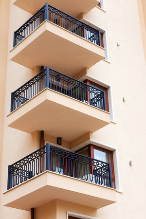 residential settlement: Background of the facade of a residential building, the hotels terraces