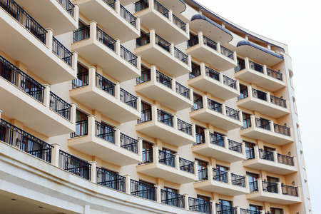 multifamily: Facade of residential building, the hotels terraces Stock Photo