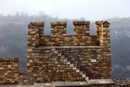 tarnovo: Ruins of an ancient fortress on a foggy winter day. Veliko Tarnovo , Bulgaria