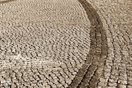 empedrado: V�a urbana est� pavimentado con bloques de piedra, paseo de adoquines, sepia