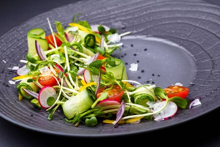Authentic fresh vegetable salad with sprouts and peas black pepper on a black plate. Morning atmospheric lighting, fashionable trendy spot soft focus. Preparation for design creative menu. photo