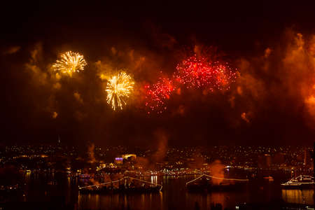 great bay: Sevastopol, Crimea - May 9, 2015: salute 70 years of the Victory in the Great Patriotic War, against the background of Russian military ships in the bay of Sevastopol