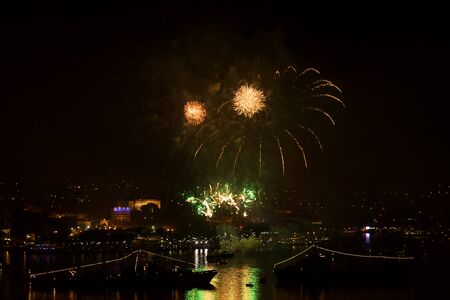 may 9: Sevastopol, Crimea - May 9, 2015: salute in honor of 70th anniversary of Victory Day in Sevastopol