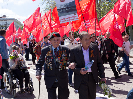 SEVASTOPOL  CRIMEA - MAY 9, 2015: Veterans at the parade in honor of the 70th anniversary of Victory Day, May 9, 2015 in Sevastopol