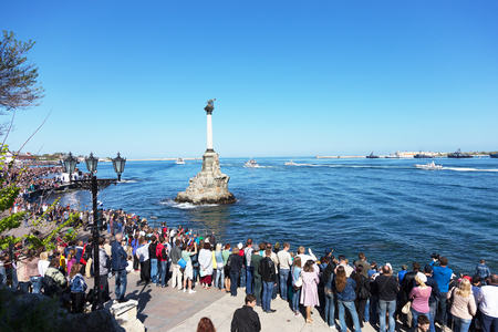 forefather: SEVASTOPOL  CRIMEA - MAY 9, 2015: Parade on the waterfront in honor of the 70th anniversary of Victory Day, May 9, 2015 in Sevastopol