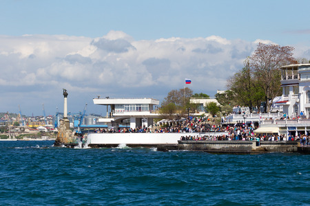 forefather: SEVASTOPOL, CRIMEA - MAY 9, 2015: People walk on the waterfront 9 May 2015, Sevastopol