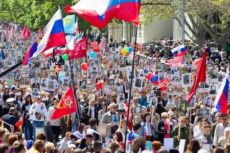 SEVASTOPOL, CRIMEA - MAY 9, 2015: The Immortal regiment marches. The parade in honor of 70th anniversary of Victory Day MAY 9, 2015, Sevastopol Editorial