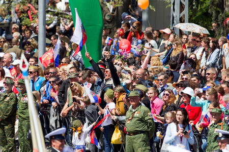 militiaman: SEVASTOPOL, CRIMEA - MAY 9, 2015: Parade in honor of the 70th anniversary of Victory Day on 9 May 2015, Sevastopol