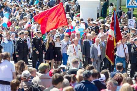 SEVASTOPOL, CRIMEA - MAY 9, 2015: People are columns on parade in honor of the 70th anniversary of Victory Day, May 9, 2015, Sevastopol