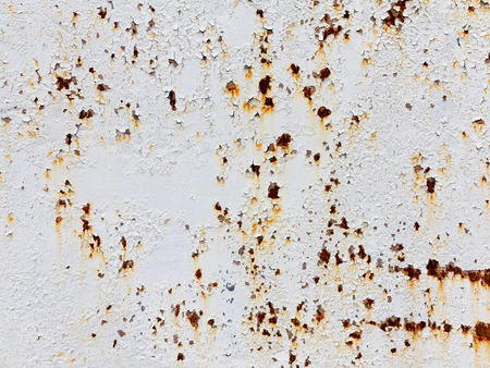 casually: Creative background of rusty metal with cracks and scratches, casually painted white. Grungy metal surface. Great background or texture for your project.