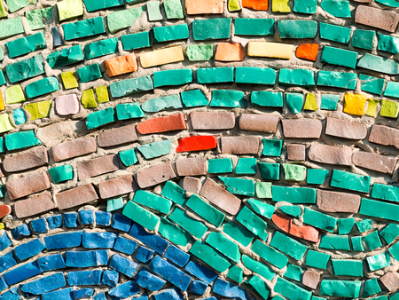 redecorate: Diagonal colorful mosaic texture on the wall