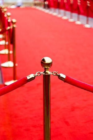 vip beautiful: Way to success on the red carpet (Barrier rope) Stock Photo