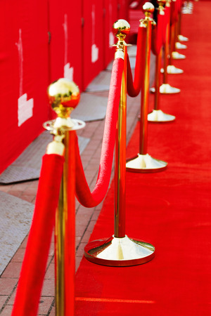 barrier rope: Way to success on the red carpet (Barrier rope) Stock Photo