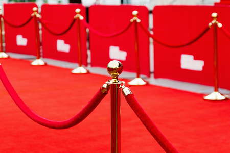 entrances: Way to success on the red carpet (Barrier rope) Stock Photo