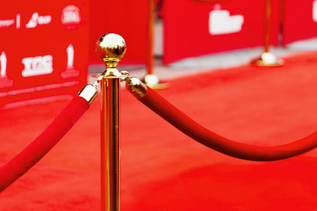 entertainment event: Way to success on the red carpet (Barrier rope) Stock Photo