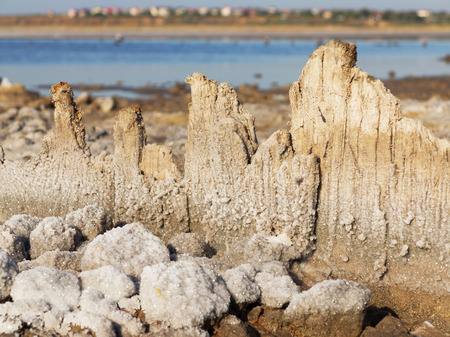 receded: Petrified salt acted on wooden boards in dry estuary. Water has receded far into the result of strong summer drought. Ecological catastrophy. The destruction of nature. Kuyalnik in Odessa, Ukraine.