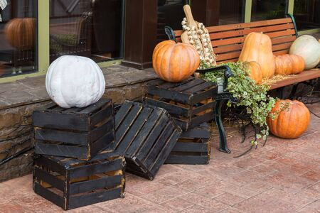 Pumpkin on black old wooden boxes decorations for Halloween