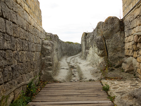 3rd ancient: Ancient wooden staircase in the medieval fortress 3rd - 7th and 11th - 17th century (East date) Ovech in Provadia, Bulgaria