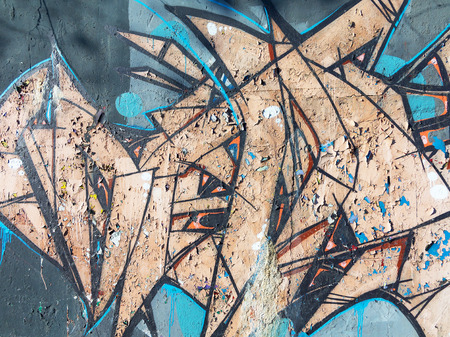 fashion art: Concrete, weathered, worn wall damaged paint. Grungy Concrete Surface.